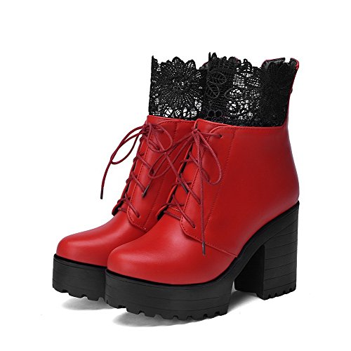 Allhqfashion Women's PU High-Heels Boots with Chunky Heels and Thread Red LF1zmLio
