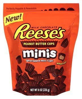Reese's Peanut Butter Cups Minis, 8-ounce Pouch (Pack of 12)