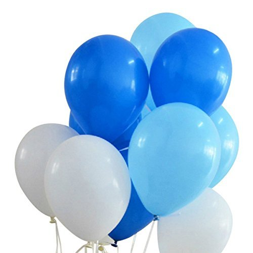 100 Premium Quality Balloons: 12 inches white and blue and light blue latex balloons birthday party decoration and events (Light Blue Balloon Weights)