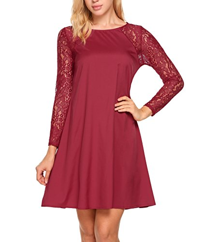 Zeagoo Women Casual Sexy O Neck Long Sleeve Lace Patchwork A-Line Dress