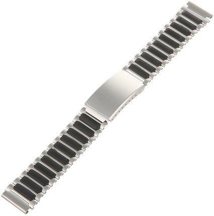18mm Ironman Triathlon Black Silver Stainless Steel Q7B848 Replacement Watchband