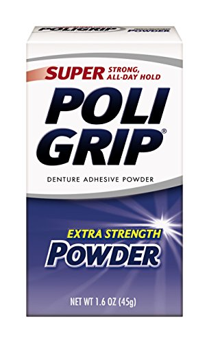 PoliGrip Super Denture Adhesive Powder, Extra Strength 1.6 oz Container (Pack of - Adhesive Poligrip Denture
