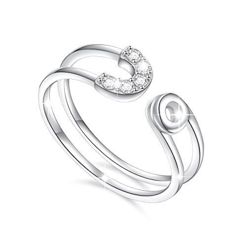 - Ladytree Sterling Silver Horizontal Double Lines Ring Cubic Zirconia Adjustable Open Ring for Women Girls