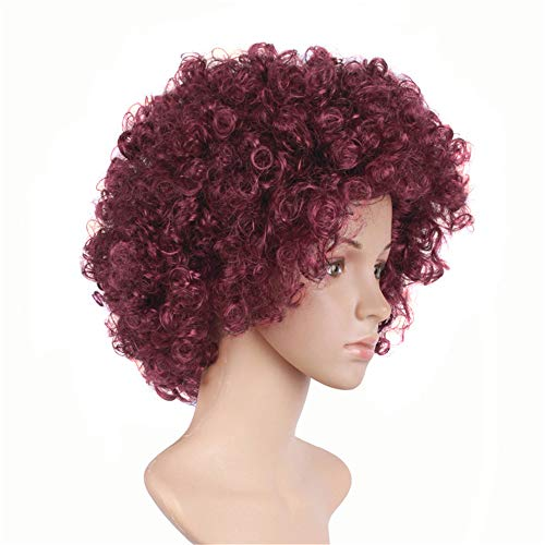 yaning Short Kinky Curly Afro Wig Heat Resistant Wigs for Women Black Red Nautral Cosplay Costume Wig Party Synthetic Hair ()