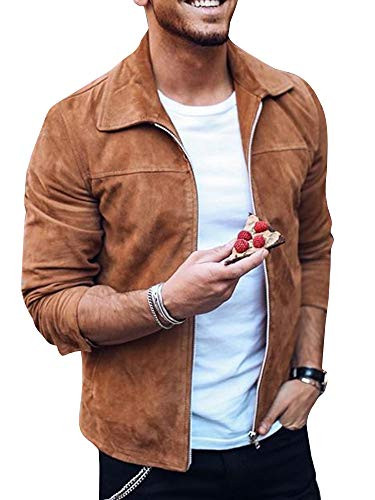 Tutorutor Mens Soft Faux Suede Bomber Jacket Full Zip Spring Autumn Coat Smooth Cotton Jackets