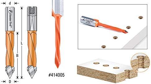 Amana Tool 414005 Carbide Tipped Through-Hole Boring Bit L//H 5mm Dia x 70mm Long x 10mm