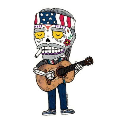 Willie Nelson Calavera Die Cut Vinyl Sticker Sugar Skull - Day of the Dead - Weather Proof Decal (Willie Nelson Patch)
