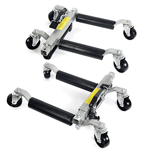 Stark 2PC Wheel Dolly Car Skates Vehicle Positioning Hydraulic Tire Jack Truck Rv Trailer Jack/Dolly Ratcheting Foot Pedal, 1500LBS
