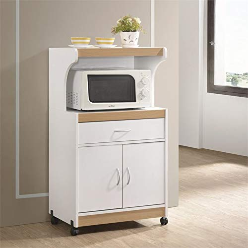 Pemberly Row Microwave Kitchen Cart with Utenstil Drawer and Storage Cabinet in White