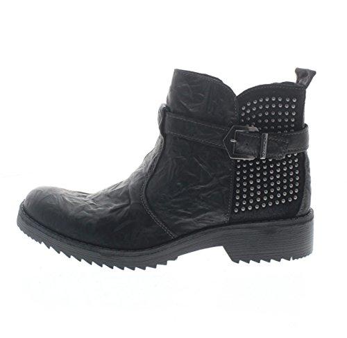 IGI & CO 68060 Schwarze Frau Schuhe Ankle Boots Reißverschluss Leder Nieten Schnalle Schwarz