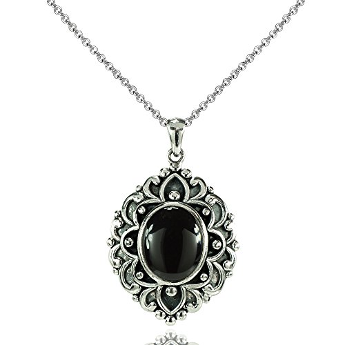 - Ice Gems Sterling Silver Simulated Onyx Oxidized Bali Inspired Vintage Oval Necklace