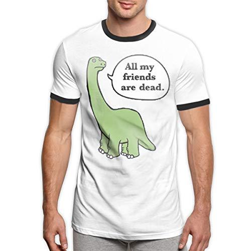 All My Friends are Dead Dinosaur Men's Ringer T-Shirt - T-shirt Ringer Dinosaur