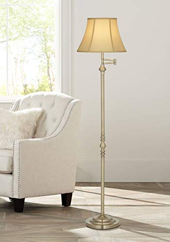 Montebello Traditional Floor Lamp Swing Arm Antique Brass Off White Bell Shade for Living Room Reading Bedroom Office - Regency -