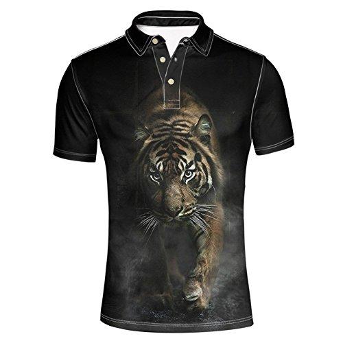 HUGS IDEA Fashion Men's Short Sleeve Golf Polos Shirt Summer Hipster Tiger Pattern T-Shirts Animal Tee