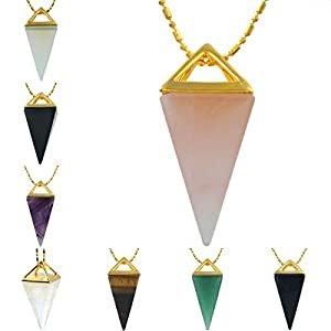 SUNYIK Gemstone Crystal Point Pendant Healing Chakra