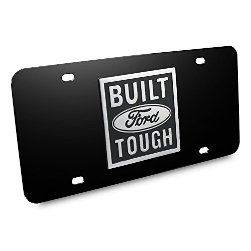 Ford Built Ford Tough 3D Logo Black Stainless Steel License (Built Ford Tough Logo)