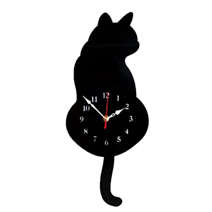 Home White Kitchen Kids Room Hanging Wall Decor FORUSKY DIY Cat Swinging Tail Silent Quartz Wall Clock Living Room Bedroom Kitchen