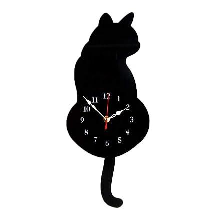 B Blesiya Moderno Reloj de Pared de Péndulo Decorativa para Dormitorios de  Casa - Gato Negro 656a0529a23d