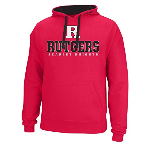 - J America NCAA Rutgers Scarlet Knights Men's Logo School Name Foundation Hoodie, Medium, Red/Black