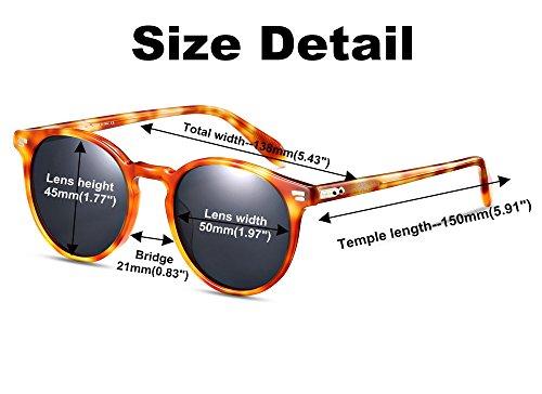 Gafas EyeGlow Material Amber grey acetato de Gafas sol de de Vintage lens sol S5256 de redondas polarizadas sol polarized Hombre ve Gafas zwz4qOpr