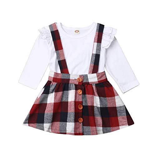 Specialcal Baby Girls Velvet Suspender Skirt Infant Toddler Ruffled Casual Strap Sundress Summer Outfit Clothes (4-5T, White+Plaid) (Plaid Jumper)