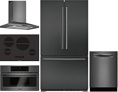 "Bosch 5 Piece Kitchen Package with B21CT80SNB 36""French Door Refrigerator,NIT8068UC 30"" Electric Cooktop,HCP80641UC 30"" Wall Mount Hood,HMC80242UC 30"" Electric and SHPM78W54N 24"" Built In Dishwasher."