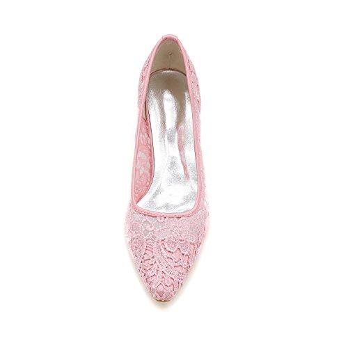 L@YC Frauen Hochzeitsschuhe Mit Rundem Kopf / Flache Schuhe / abendgesellschaft & Schwarz / Weiß / Pink Black