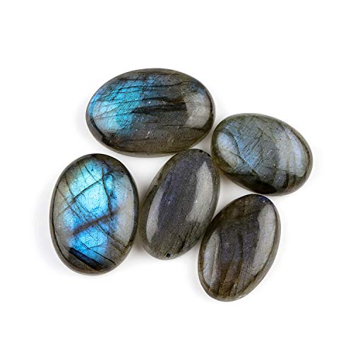 Jaguar Gems 5pcs 80+ cts Natural Labradorite Stone, Blue Flash Crystals, Jewelry Making Crystals, Labradorite Supply, Natural Cabochon, Loose Gemstone, Chakra Healing Crystals, Aura Stone (Easter Glass Gems)
