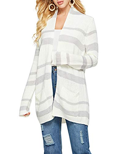 Woman's Long Sleeve Color Stripe Sweater Cardigan Knit Only Sweater Patchwork Loose Fit Coat White