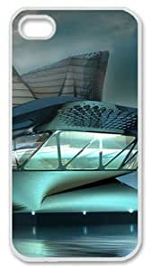 Iphone 4 4s PC Hard Shell Case Glass Futuristic Building Water White Skin by Sallylotus