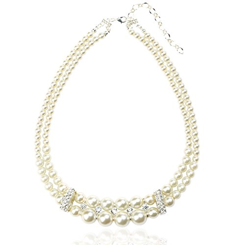 Ginasy Double Strand Glass Bead Pearl Rhionestone Drop - Double Necklace Pearl Drop