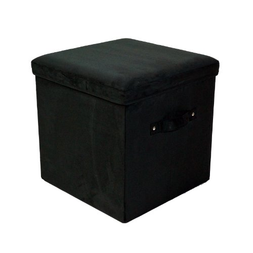 Casual Handle - Casual Home Microsuede Folding Storage Ottoman, Black