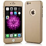 SDO™ Protective Slim Fit 360 Hybrid Body Cover Case with Tempered Glass for Apple iPhone SE (Gold)