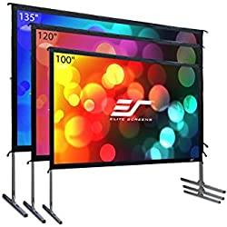 "Elite Screens Yard Master 2, 120 inch Outdoor Projector Screen with Stand 16:9, 8K 4K Ultra HD 3D Fast Fold Portable Movie Theater Cinema 120 "" Indoor Foldable Easy Snap Projection Screen, OMS120H2"