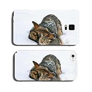 Dog hugging cat in the snow cell phone cover case Samsung S6