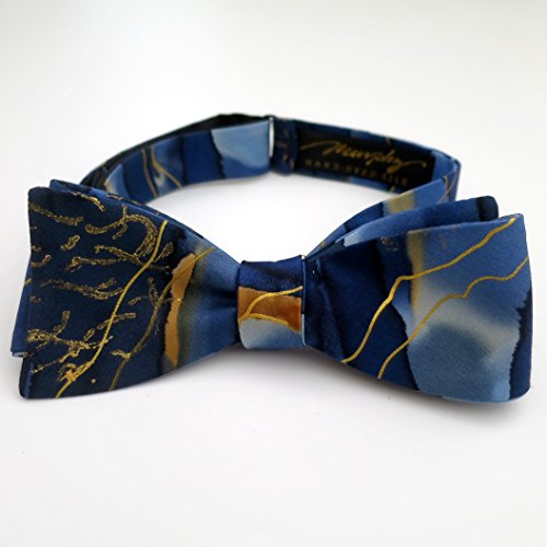 100% Silk Hand-Painted Hand-Made Men's Self Tie Bow Tie ''Under Water'' Art to Wear by Murphyties by Murphyties Inc.