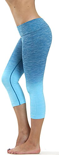 Prolific Health Fitness Power Flex Yoga Pants Leggings – All Colors – XS – XL (Medium , Capri Ombre Periwinkle)