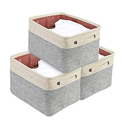 """DECOMOMO Extra Large Foldable Storage Bin [3-Pack] Collapsible Sturdy Cationic Fabric Storage Basket Cube W/Handles for Organizing Shelf Nursery Home Closet & Office - Grey & Beige 15.8 x 12.5 x 10"""" - Organize and Declutter - DECOMOMO's Foldable Storage Bins makes things easy to find. Utilize to organize and store children's toys, books and magazines, files, laundry, supplies and much more! Fashionable and Robust - Matches interior Décor of any household or office. Cleverly label each bin with the provided string and tag with our DIY kit. Personalize your bin with a style that matches any Décor! Rugged, Durable and Sturdy - Storage bin made of attractive canvas with interior lining. Solid hard inner base to help with Structure and Stability. Sewn in handles makes it easy to slide in and pull out from shelves, sectionals, closets, or the office. New version with added base support to make the bins more firm! The Perfect organizational tool. - living-room-decor, living-room, baskets-storage - 41LhD0b%2BY8L. SS400  -"""
