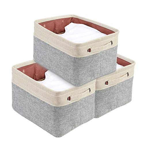 DECOMOMO Extra Large Foldable Storage Bin [3-Pack] Collapsible Sturdy Cationic Fabric Storage Basket Cube W/Handles for Organizing Shelf Nursery Home Closet & Office - Grey & Beige 15.8 x 12.5 x 10 ()