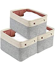 DECOMOMO Foldable Storage Bin Set of 3   Rugged Canvas Fabric Cube Container with Handles   Great for Organizing Closets, Offices and Homes (Grey and Beige, Extra Large - 3 Packs)