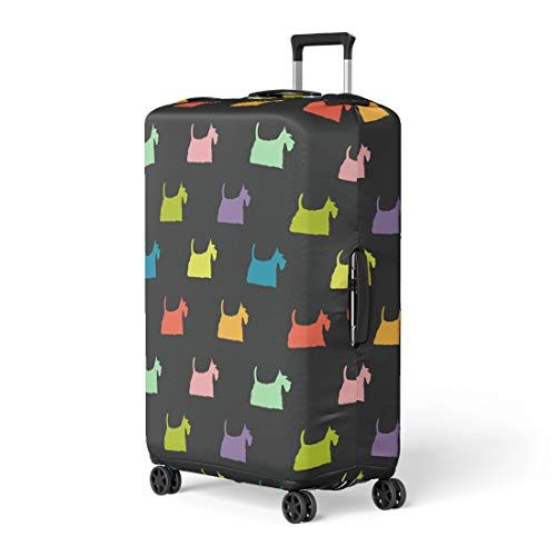 - Pinbeam Luggage Cover Green Colorful Dog Silhouettes on Scottish Terrier Animal Travel Suitcase Cover Protector Baggage Case Fits 26-28 inches