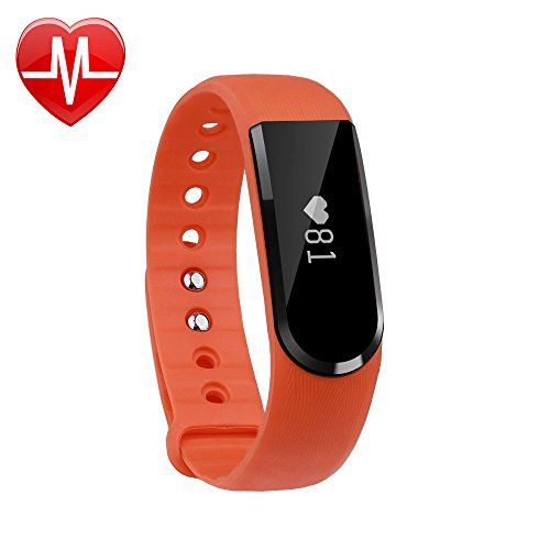 LETSCOM Fitness Tracker Watch, Bluetooth 4.0 Heart Rate Monitor Bracelet, IP67 Waterproof Touch Screen Smart Bands with Activity Tracker for iPhone Android Smartphone Orange