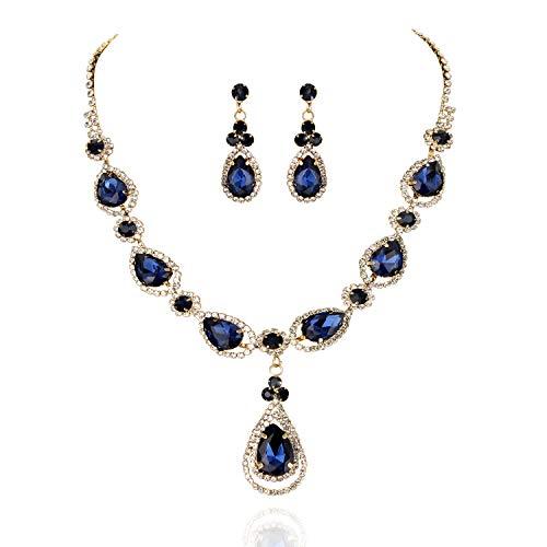 SP Sophia Collection Women's Elegant Crystal Teardrop Statement Necklace Dangle Earring Set in Navy Crystal Teardrop Necklace Earrings