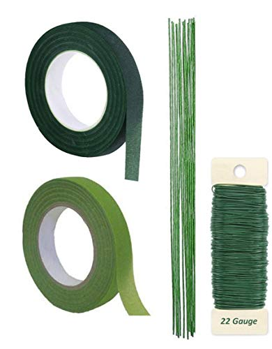 Premium Quality 1/2 Inch Floral Tape, Self-Sealing, Dark Green and Ligh Green, With Green Paddle Wire 22-Gauge Inludes 12 Pieces of 18 Inch 18 Guage Wire