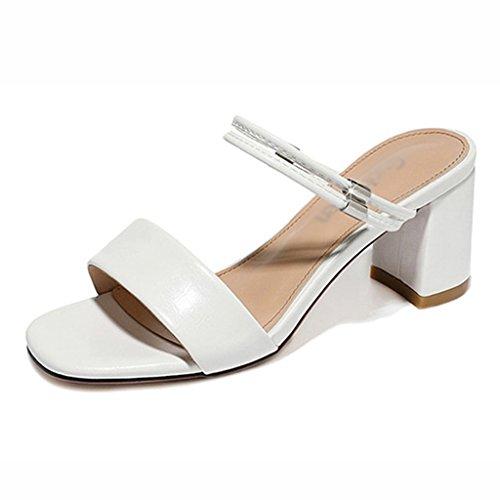 Zapatos para mujer HWF Sandalias Femeninas Summer Fashion Simple Half Slipper (Color : Negro, Tamaño : 35) Blanco
