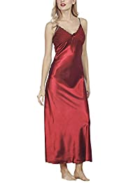 Dolamen Women's Nighties Satin, Pyjamas Nightwear Long Nightdress