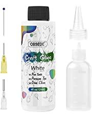 OBSEDE Art Precision Craft Glue, Dries White Adhesive 4fl oz/120ml with Fine Metal Tip Bottle Applicator Kit for DIY Crafts Glitter Paper Card Decopauge Scrapbooking