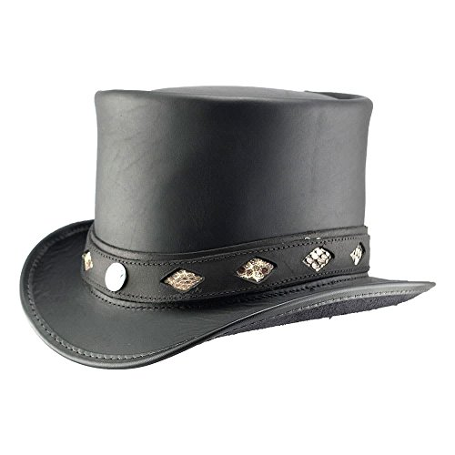 Leather Inlay Top - Voodoo Hatter Topper-Diamond Inlay Band by American Hat Makers Leather Top Hat, Black Finished-Diamond Inlay Band - Small