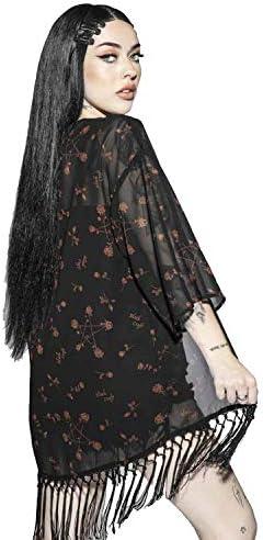 Blackcraft Cult Pentagram Rose Gotico Okkulte Satanic Moda Donna Kimono