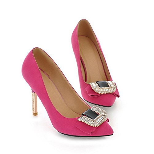 VogueZone009 Womans Closed Pointed Toe High Heel Suede Solid Pumps with Rhinestones, Peach, 3.5 UK